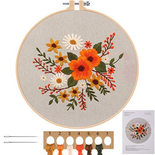 MWOOT Kit de Herramienta de Punto Cruz,Cross stitch a Mano Kit de Inicio de Bordado para Adulto Principiantes -Flores