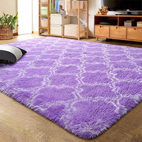 LOCHAS Luxury Velvet Shag Area Rug Modern Indoor Plush Fluffy Rugs, Extra Soft and Comfy Carpet, Geometric Moroccan Rugs for Bedroom Living Room Girls Kids Nursery, 5x8 Feet Purple/White