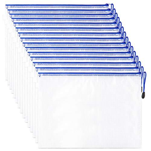 Etroshare 15 Stück Reißverschlussordner Reißverschlusstasche A4 Datei Dokumententaschen mit Reißverschluss A4 Zipper Tasche für Dateiordnung, Lagerung von Schreibwaren, Kosmetikwaren