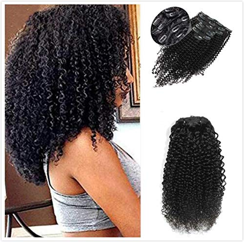 """Afro Kinky Curly Clip in Hair Extensions Natural Black Human Hair Weaves Clip on Hair Extension Pieces #1b Color 100g for Black Women (16"""")"""