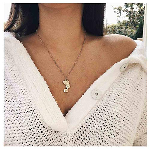Yfe Nefertiti Pharaoh Necklace African Queen Necklace for Women and Girls Simple Pendant Jewelry Gold (Gold)