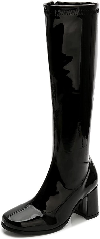 LIURUIJIA Women's Go Go Boots Over The Knee Block Heel Zipper Boot XZ-YX-01-XK