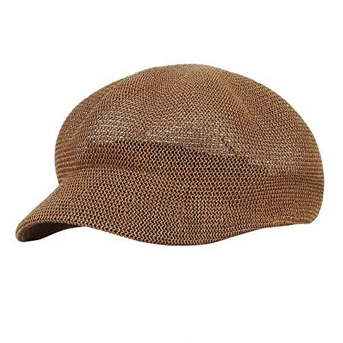 ERQINGBM Barett Sommer Hüte Für Frauen Atmungsaktives Stroh Zeitungsjunge Caps Damen Strand Sun Cap Elegante Dame Beret Hat Flache Kappe