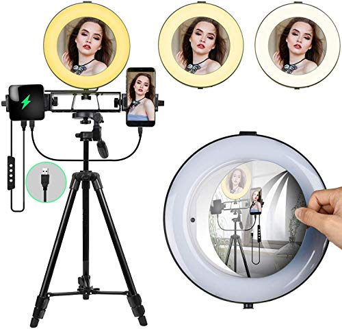 LED Ring Light 6' with Tripod Stand for YouTube Video and Makeup, Mini LED Camera Light with Cell...