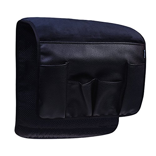 BCP Black Color Velvet Sofa Couch Chair Armrest Soft Caddy Organizer Holder for Remote Control, Cell Phone, Book, Pencil