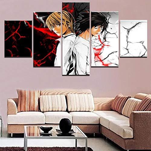 Myrdsio Anime Death Note Quadri Soggiorno 5 Pezzi Stampe su Tela Dipinti Moderni Decorazione per L'Arte della Parete Domestica Quadri Grandi Dimensioni 150×80 Cm con Cornici