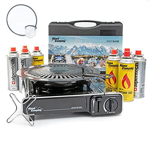 AlpenCamping Mont Blanc Gaskocher Campingkocher Set mit 8 Gaskartuschen - Grillplatte - Gasherdkreuz - 2,2 kW chrome schwarz inkl. Frisbee