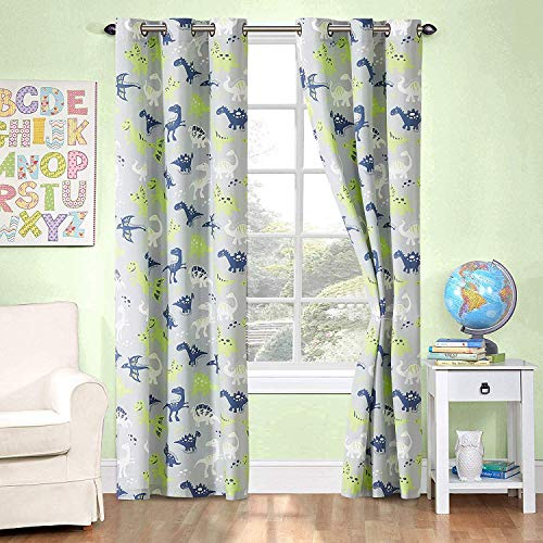 Better Home Style Printed Fun Grey Blue and Green Dinosaurs Dinosaur Kids / Boys / Teens Room Window Curtain Treatment Drapes 2 Piece Set with Grommets (Grey Dinosaur)