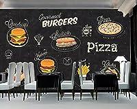 壁紙 壁紙の手描きの西洋のレストランの背景の背景の壁のバーガーピザ店の装飾3Dの壁紙-3D_150x105cm