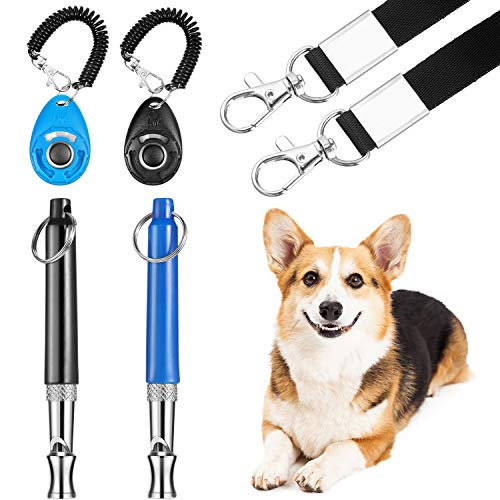 Frienda 2 Sets Dog Training Kits Dog Whistle to Stop Barking with Lanyard Dog Training Clicker with Wrist Strap Silent Dog Bark Control Whistle for Dogs (Black and Blue)