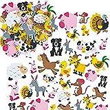 Baker Ross EV3104 Pegatinas de Espuma Impresa con Forma de Animales de Granja (Paquete de 96) Para decorar tarjetas y manualidades infantiles