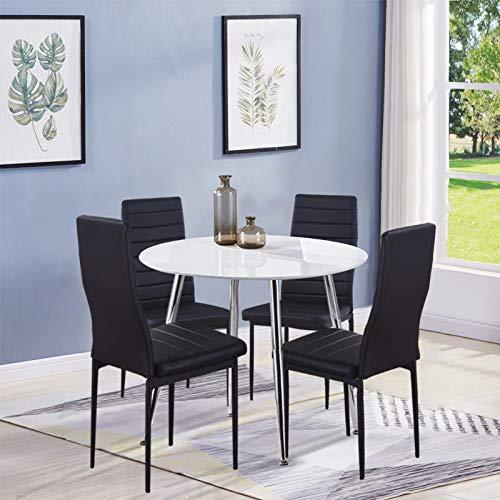 GOLDFAN Esstisch und 4 Essstühlen Esszimmergruppe mit 4 Schwarz Stuhl Runder Tisch Weiß und Stuhl für Wohnzimmer Küche