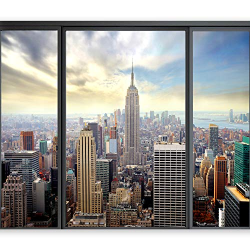murando - Fototapete New York 350x256 cm - Vlies Tapete - Moderne Wanddeko - Design Tapete - Wandtapete - Wand Dekoration – New York Stadt City Skyline View Manhattan Fenster Himmel Usa 10110904-12
