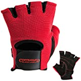 Contraband Black Label 5050 Mens Basic Leather Fingerless Weight Lifting Gloves - Durable Light - Medium Padded Split Leather Gym Gloves - Perfect Classic Lifting Gloves (Pair) (Red, Large)
