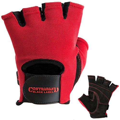 Contraband Black Label 5050 Mens Basic Leather Fingerless Weight Lifting Gloves - Durable Light - Medium Padded Split Leather Gym Gloves - Perfect Classic Lifting Gloves (Pair) (Red, Medium)