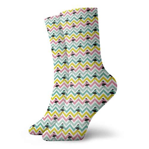 Calcetines suaves de longitud media de pantorrilla, color pastel con rayas zigzag zigzag con siluetas de flamencos negros exóticos, calcetines para mujeres y hombres, ideales para correr