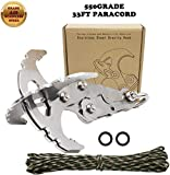 CZS Gravity Hook Stainless Steel Grappling Hook Survival Folding Climbing Claw Serrated Mechanical Claw Military Grade Paracord Rope for Outdoor Activity EDC Tool