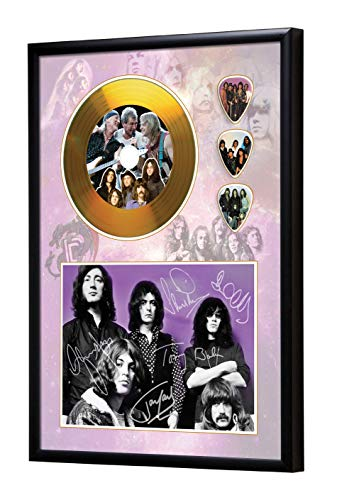 SH Range Deep Purple Framed CD Goldene Schallplatte & Guitar Picks Display