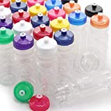 Rolling Sands BPA-Free 24 Ounce Clear/Rainbow Water Bottles, Bulk 100 Pack, Made in USA