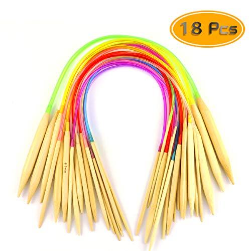 UPlama 18 PCS Wood Knitting Needles Circular Knitting Needles Set Circular Bamboo Knitting Needle Set 18 Differents Size