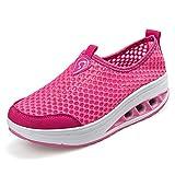 ailishabroy Zapatillas de Running de Competición Mujer Resbalón en Mocasines Huecos Florales de la Plataforma de la Cuña (41, Rosado)