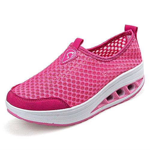 ailishabroy Zapatillas de Running de Competición Mujer Resbalón en Mocasines Huecos Florales de la Plataforma de la Cuña (37, Rosado)