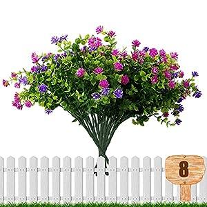 8 bundles artificial multi-colored mixed bouquets uv resistant outdoor flowers no fade faux plastic camellia flowers for halloween garden porch patio decor, 4 pack purple, 4 pack magenta silk flower arrangements