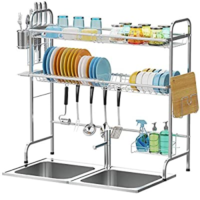 Over the Sink Dish Drying Rack, Cambond 2 Tier ...