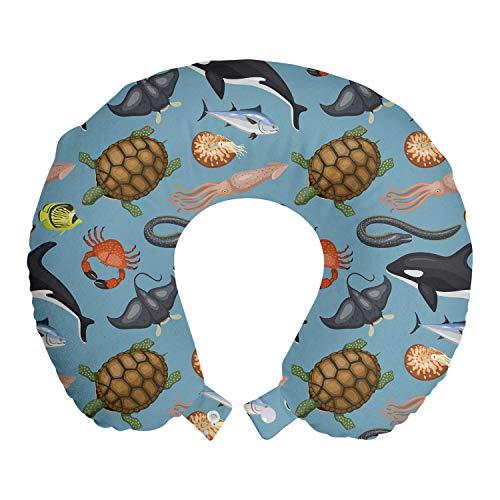 ABAKUHAUS Tortuga Cojín de Viaje para Soporte de Cuello, Mar Animales Escena subacuática, de Espuma con Memoria Respirable y Cómoda, 30x30 cm, Azul Gris Multicolor