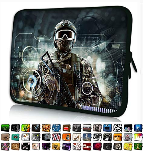 Funky Planet 17' 17.3' inch Laptop Sleeve Case Bag Compatible with Apple MacBook air pro Dell Lenovo Samsung Asus Computer Tablet or Ipad (Soldier with Gun)