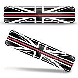 Biomar Labs® 2 pcs 3D Gel Pegatinas Bandera Nacional Gran Bretaña del Reino Unido UK Flag Union Jack Thin Red Line Silicona Adhesivo Autos Coches Motos Ciclomotores Bicicletas Ordenador Portátil F 63