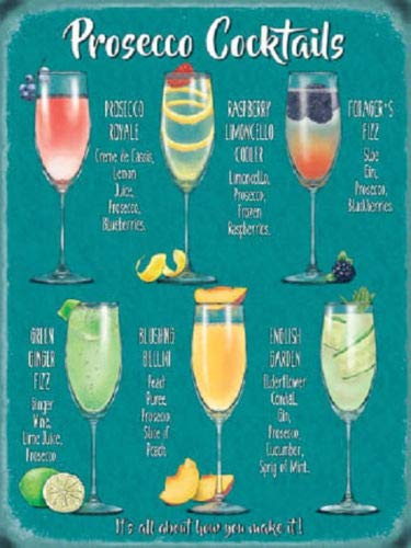 C-US-lmf379581 Metalen bord Plaque Plezier Prosecco Cocktail Recepten Drink Keuken Bar Staal Plaque