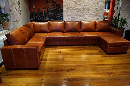Quattro Meble Super große 8 Sitzer Echtleder Ecksofa Mallorca U-Form 240x350x170cm Ottomane RECHTS Sofa Couch mit Bettfunktion und Bettkasten Eck Couch Echt Leder Große Farbauswahl !!!