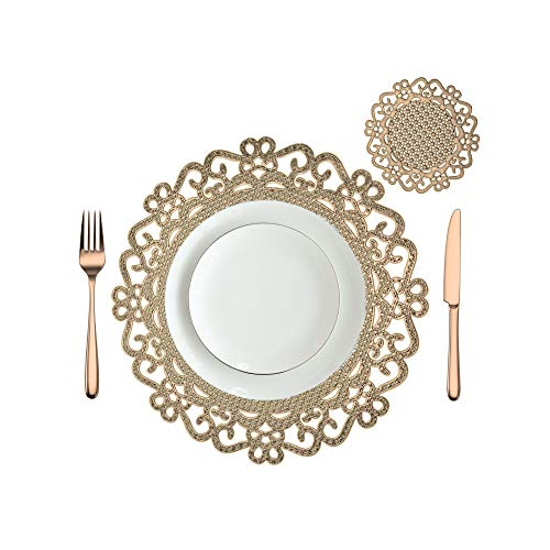 'N/A' Placemats & Coasters Table Mat Resistant Anti Slip Gold Silver Round Table Mats, Dining Plate Chargers for Kitchen Table, Wedding Restaurant Party Pack 4,6,8,10 (Gold, 6)