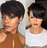 TOOCCI Parrucca Donna Capelli Veri Parrucca Corta Capelli Umani Donna Pixie Cut Wigs Straight Wave Short Bob Brazilian Human Hair Wigs side part 130% Density