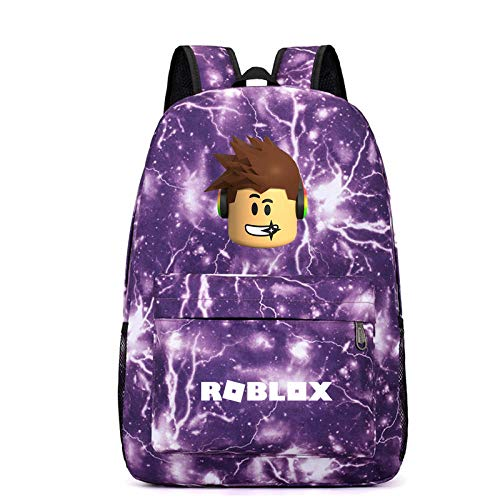 Creative r-o-b-l-o-x Multi-Color Backpack Multifunctional Outdoor Travel Bag Student Backpack Large Capacity Custom School Bag 2-Thunder Purple Pattern 3_One Size