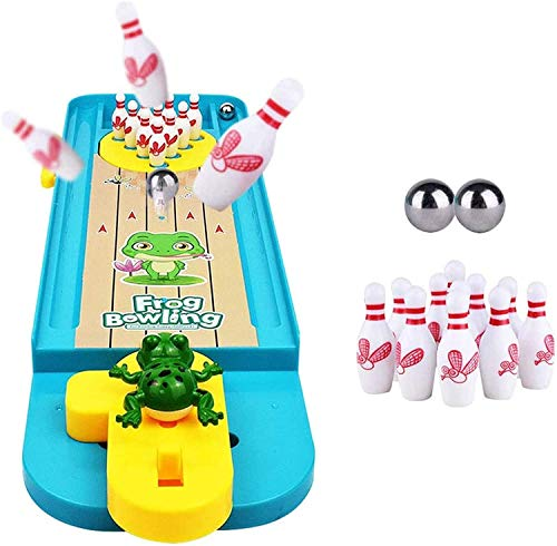 Mini Frog Toys Bowling, Frog Table Bowling, Mini Frog Bowling Toy, Creative Reduce Stress Games Juguete Interactivo Para Interiores, Kids Educational Desktop Bowling Game (1PCS)
