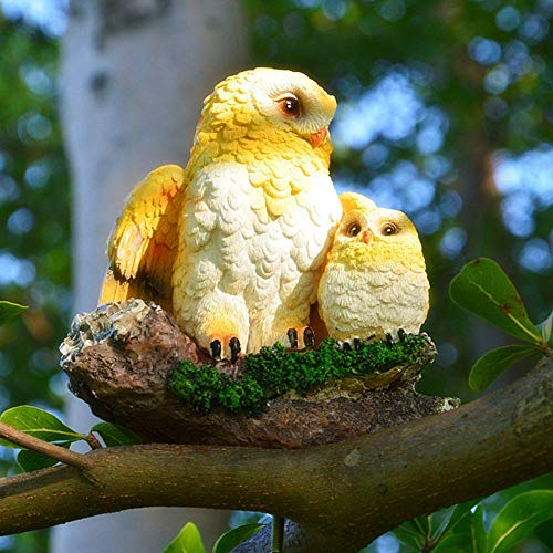 LIUSHI Simulation Owl Mother and Child Statue Sculpture Decoration Resin Crafts Owl Pendant Tree Decoration Bird Model Decoration