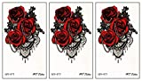PARITA Small Tattoos Red Roses and Necklaces Cartoon Temporary Tattoo for Adult Men Women Kids Fashion Tattoos Art Make Up Design Sexy Body Fake (Pack 3 PCS.) (03)