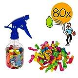 L+H 80 XXL Wasserbomben bunt mit Füllhilfe in Premium Qualität für Kinder | Wasserballons mit...