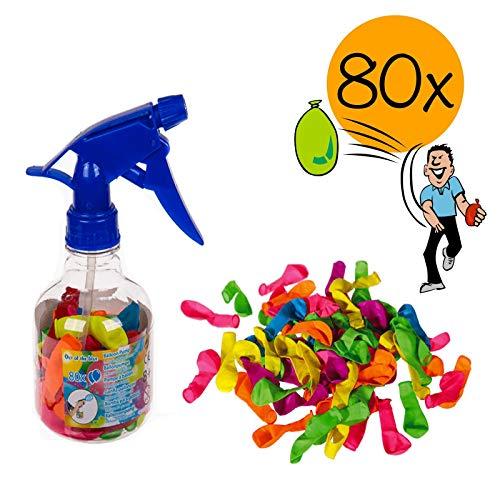 L+H 80 XXL Wasserbomben bunt mit Füllhilfe in Premium Qualität für Kinder | Wasserballons mit Pumpe für Jungen und Mädchen zur Wasserschlacht Kindergeburtstag Wasser-Bomben Wasser-Ballons Luftballons