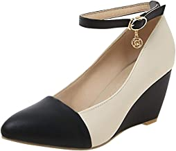 Highly Recommend Great Value Fashion Office Lady Pointed Toe Ankle Strap Wedge Heel Shoe Pumps Plus Size Shoe