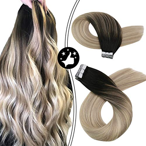Moresoo 18 Inch Tape in Hair Extensions Real Human Hair Balayage Color 1B Off Black to 18 Ash Blonde Mixed with 60 Blonde Adhesive Tape in Hair Extensions 20PCS 50G Glue on Hair Extensions