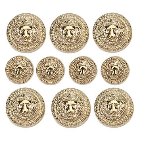 Monrocco 60 Pieces Gold Vintage Antique Metal Blazer Button Lion Head Buttons