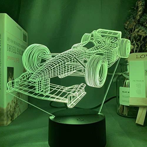 ZBHW Fórmula 1 Racing Coche 3D Illusion LED Noche de Noche para niños Dormitorio Decorativo Nightlight niños Lámpara de Escritorio de la habitación