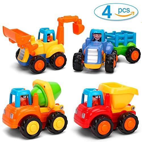 GoStock Baby Spielsachen Spielzeugauto Baufahrzeuge 4 in einem Set für Kinder ab 1 2 3 jahre, Traktor, Bulldozer, Kipper & Zementmischer