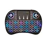 Mini Keyboard, Wireless Touchpad Keyboard, Portable Keyboard by GECENinov, 7 Colors RGB Backlit Keyboard, 2.4G Rechargeable Controller Mouse Combo, Compatible with PC, Laptops, Smart TVs.