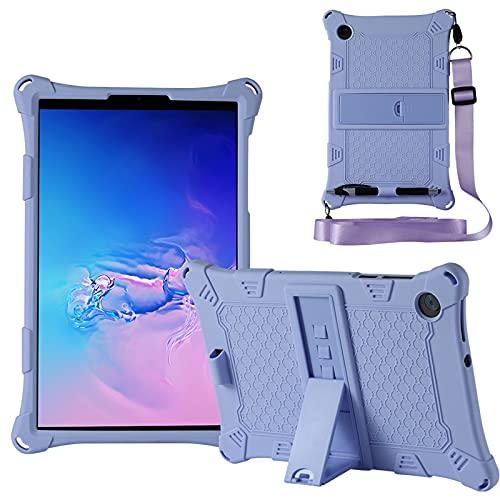 KATUMO Custodia Compatibile con Lenovo M10 HD 10.1' 2a Generazione 2020 (TB-X306F/X306X), Silicone Cover per Lenovo M10 FHD 10,3' 2020 (TB-X606F/X606X) Strappo e Tablet Stylus Pen,Viola chiaro