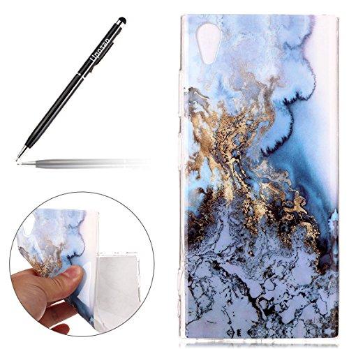 Uposao Kompatibel mit Handyhülle Sony Xperia XA1 Plus Handytasche Marmor Muster TPU Silikonhülle Kratzfest Durchsichtige Schutzhülle Dünn Transparent Hülle Handyhülle Crystal Silikon Bumper Cover,Blau