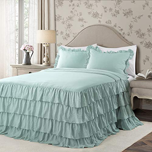 Lush Decor Aqua Allison Ruffle Skirt Bedspread Shabby Chic Farmhouse Style Lightweight 3 Piece Set Full